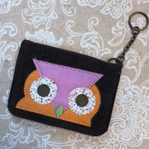 Brown Corduroy Owl Key Chain Wallet